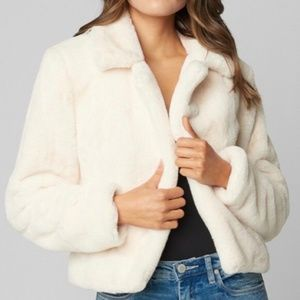 BLANKNYC Cropped White Faux Fur Jacket Large New